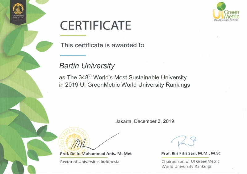 Bartın Üniversitesi 2019 GreenMetric Sıralaması